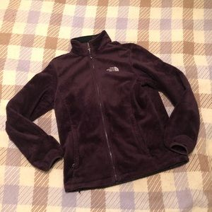 Brown north face fuzzy fleece full zip w/ pockets